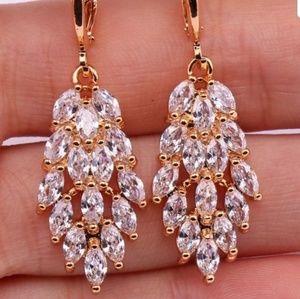 Gold Filled Leaf Drop Earrings